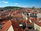 View from the Old Town Hall at Prague Castle and Petrin