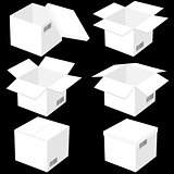 Six boxes, isolated on black background. Vector illustration.