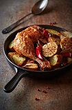 Oven-baked chicken with vegetables