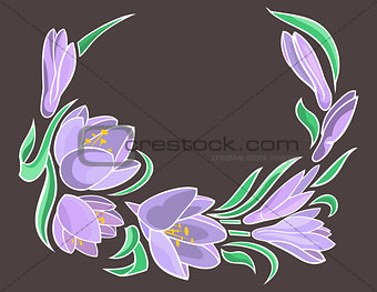 Abstract crocuses with grey background
