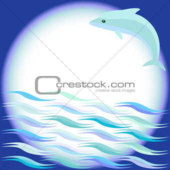 Sea background with jumping dolphin