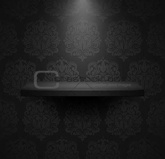 Dark empty isolated shelf on beautiful black luxury background.