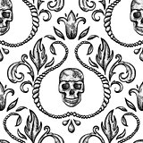 Vintage seamless ornament with skull in baroque style.