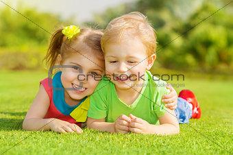 Happy children in park