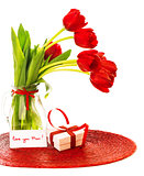 Red tulips with gift box