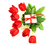 Red tulips with giftbox