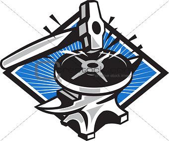 Sledgehammer Striking 45lb Weight Anvil Retro