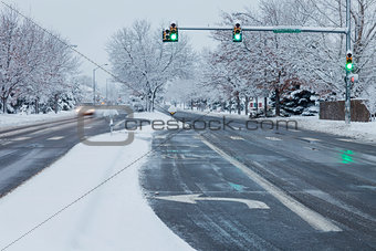 city street in winter weather