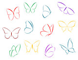 Butterflies color silhouettes