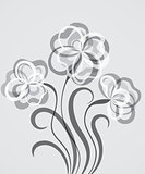 Grayscale EPS10 background with abstract flowers