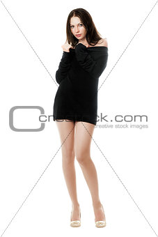 Young woman posing in dress