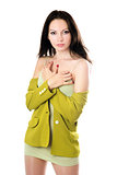 Pretty woman in yellow knitted jacket