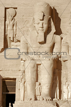 Ramesses at Abu Simbel temples in Egypt