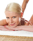 Closeup of a young woman having massage