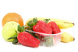 fresh diet fruit, apple, orange, banana and strawberry