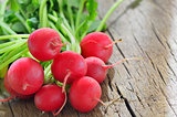 garden radish isolated on old wooden