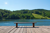 Bench in front of the lake