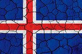 Flag of Iceland over cracked background