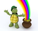 tortoise with pot of gold and rainbow