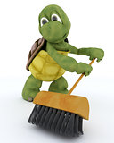 tortoise sweeping with a brush