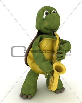 tortoise playing a saxophone