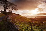 Beautiful sunrise over Yorkshire Dales National Park