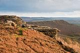 View along Curbar Edge towards Froggatt's Edge in background, in