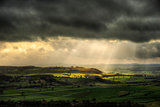 Sun beams over Yorkshire Dales National Park