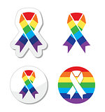 Rainbow flag ribbon - symbol of gay pride and support for the GLBT community