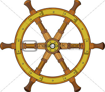 old wooden ship steering wheel isolated on white background