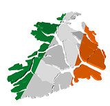 Ireland map cracked