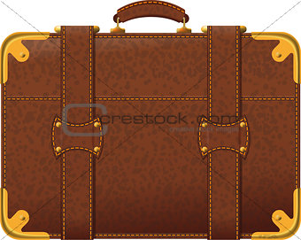Realistic image old fashioned brown suitcase side view