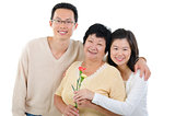 Asian family celebrates Mothers Day.
