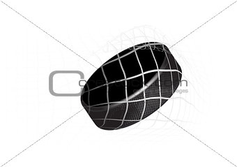 Goal - a hockey puck in the net. Vector illustration