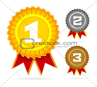Gold, silver and bronze awards on white. Vector illustration