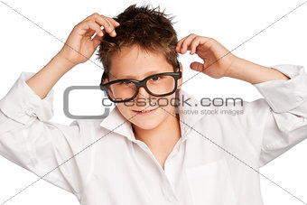 Boy in white shirt and big glasses