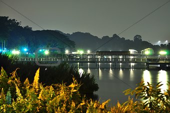 Lower Seletar Reservoir fishing jetty by night