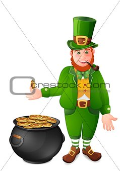 Leprechaun with gold coins