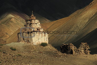 Old stupa in Runback village, Ladakh, Jammu & Kashmir, India