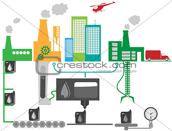 Oil industrial factory schematic illustration