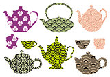 tea pots and cups with asian pattern, vector