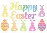 Happy Easter cross stitch, vector