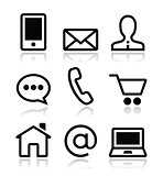 Contact web vector icons set
