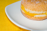 Doughnut in yellow background