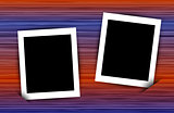 Two photo frames on colorful abstract linear background