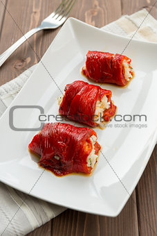 Capsicum and rice roulade