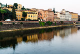Arno River Embankment in the Early Morning Light, Florence, Ital