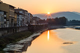 Sunrise at Arno River Embankment in Florence, Tuscany, Italy