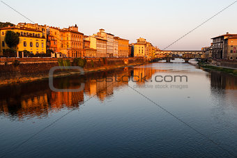 Ponte Vecchio Bridge Across Arno River in Florence at Morning, I