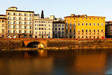 Arno River Embankment after Sunrise in Florence, Tuscany, Italy